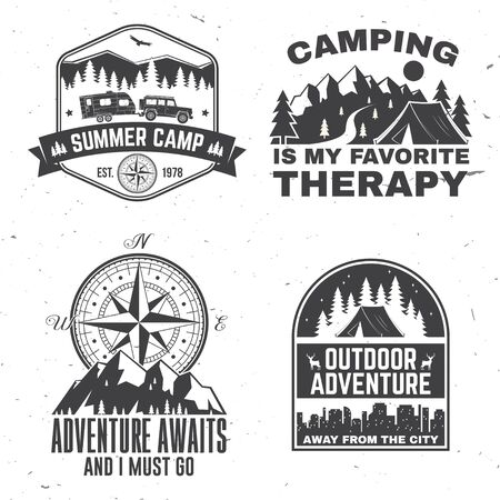 Set of outdoor adventure inspirational quote. Vector. Concept for shirt, print, stamp or tee. Vintage typography design with camper tent, mountain, forest, camper trailer silhouette