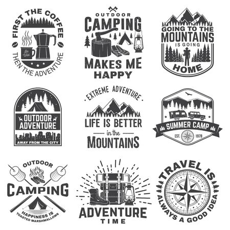 Set of outdoor adventure quotes symbol. Vector illustration. Concept for shirt print, stamp, tee. Vintage design with marshmallow, axe, mountains, deer, tent, compass and forest silhouette Vettoriali