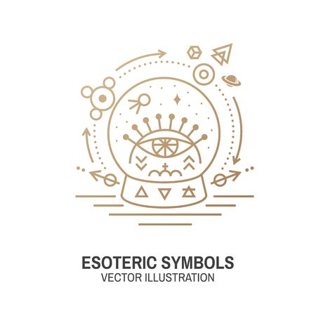 Esoteric symbols. Vector. Thin line geometric badge. Outline icon for alchemy or sacred geometry. Mystic and magic design with glass ball and all-seeing eye.