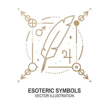 Esoteric symbols. Vector illustration. Thin line geometric badge. Outline icon for alchemy, sacred geometry. Mystic and magic design with feather, stars, planets and moon. 向量圖像