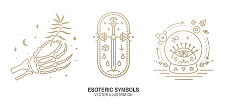 Esoteric symbols. Vector. Thin line geometric badge. Outline icon for alchemy, sacred geometry. Mystic and magic design with human skeleton bone hand, old sword and glass ball and all-seeing eye