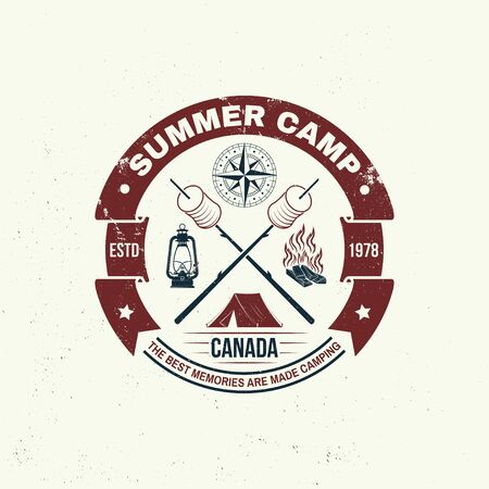 Summer camp. Happiness is toasted marshmallows. Vector. Vintage typography design with camping tent, campfire, marshmallow on a stick silhouette. Concept for shirt or print, stamp or tee Иллюстрация