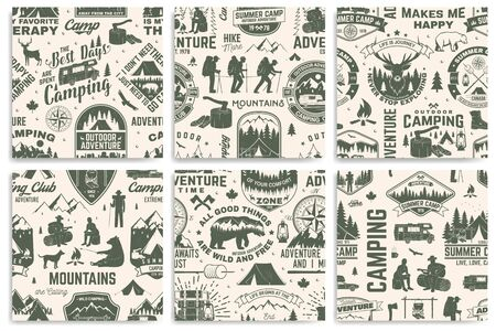 Set of summer camp seamless pattern, background. Vector. Retro typography design with rv trailer, tent, mountain, campfire, hiker and forest silhouette. For camping and hiking organizations Illustration