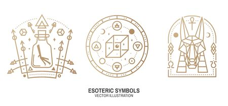 Esoteric symbols. Thin line geometric badge. Outline icon for alchemy, sacred geometry. Mystic, magic design with chemistry flask with crow foot, egyptian god Anubis, unreal geometrical cube Ilustração