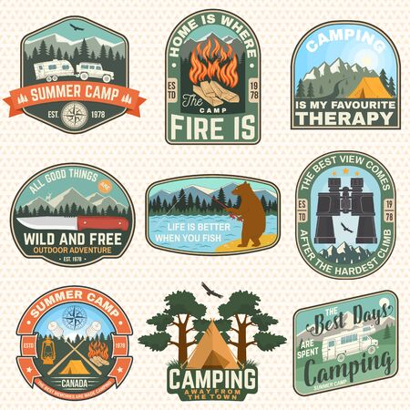 Set of outdoor adventure quotes patches. Vector illustration.Concept for shirt, print, stamp or tee. Vintage design with camper, binoculars, mountains, fishing bear, deer, tent and forest silhouette
