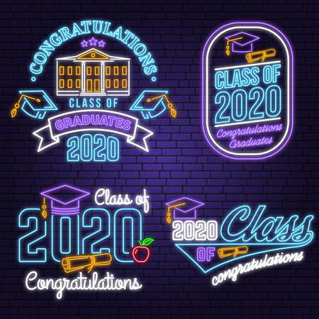 Set of Vector Class of 2020 neon bright signboard, light banner. Vector. Neon typography design with graduation cap, diploma, school. Graduation design with hut and text Class of. Ilustrace