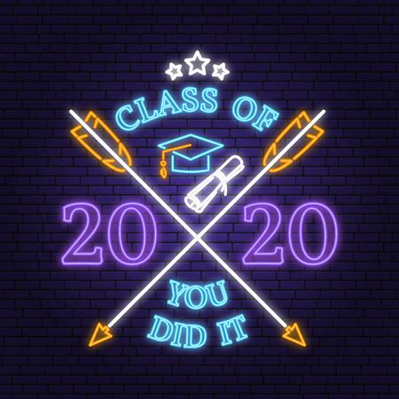 Vector Class of 2020 neon bright signboard, light banner. Vector. Neon typography design with graduation cap, text Class of. Template for the graduation party poster, flyer, lighting banner
