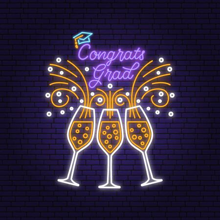 Vector Class of 2020 neon bright signboard, light banner. Vector. Neon typography design with graduation cap and champagne Template for the graduation party poster, flyer, lighting banner Ilustrace