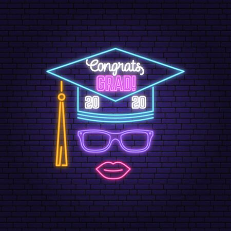 Vector Class of 2020 neon bright signboard, light banner. Vector. Neon typography design with graduation cap and lip. Template for the graduation party poster, flyer, lighting banner