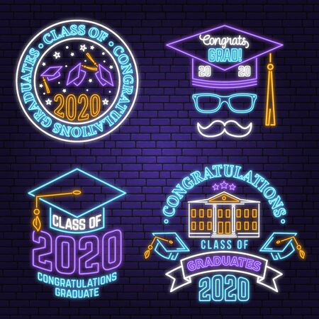 Set of Vector Class of 2020 neon bright signboard, light banner. Vector. Neon typography design with graduation cap, diploma, mustache. Graduation design with hut and text Class of.