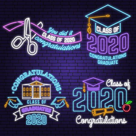 Set of Vector Class of 2017 neon bright signboard, light banner. Vector. Neon typography design with ribbon and scissors. Graduation design with hut and text Class of.