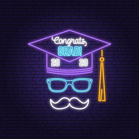 Vector Class of 2020 neon bright signboard, light banner. Vector. Neon typography design with graduation cap and mustache. Template for the graduation party poster, flyer, lighting banner