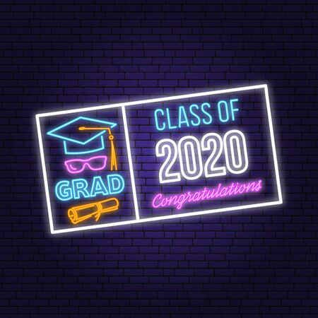 Class of 202 neon bright signboard, light banner. Vector. Template for the graduation party poster, flyer, lighting banner Graduation design with hut and text Class of.