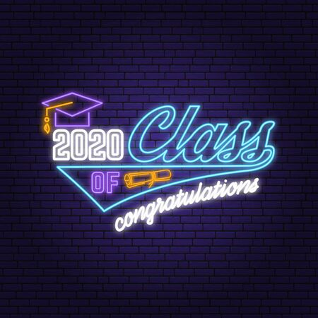 Class of 202 neon bright signboard, light banner. Vector. Neon typography design with graduation cap. Template for the graduation party poster, flyer, lighting banner