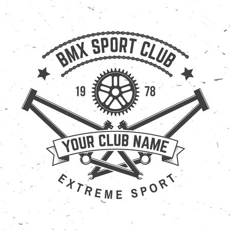 Bmx extreme sport club badge. Vector. Concept for shirt, print, stamp, tee with frames, chain. Vintage typography design with bmx frames, sprocket silhouette. Ilustración de vector