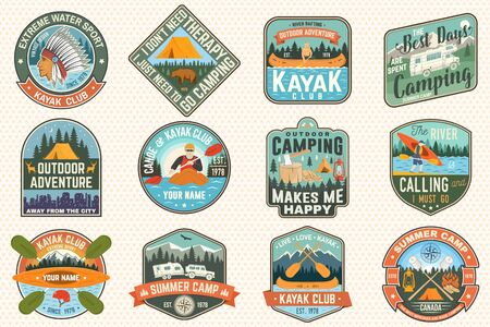 Set of summer camp, canoe and kayak club badges. Vector. Concept for patch. Retro design with camping, mountain, river, american indian and kayaker silhouette. Extreme water sport kayak patches Ilustração Vetorial