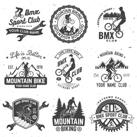Set of bmx, mtb extreme sport club badge. Vector. Concept for shirt, print, stamp, tee with man ride on a sport bicycle. Vintage typography design with cyclist, sprocket and chain silhouette.