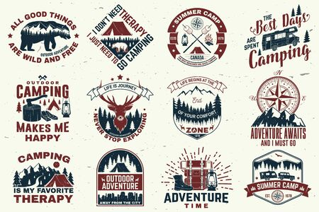 Set of outdoor adventure quotes symbol. Vector. Concept for shirt or print, stamp, tee. Vintage design with hiking boots, camping tent, lantern, axe, mountains, bear, deer, forest silhouette