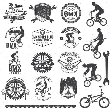 Set of bmx extreme sport club badge. Vector. Concept for shirt,stamp, tee with man ride on a sport bicycle. Vintage typography design with bmx cyclist, bmx sprocket and chain silhouette Ilustración de vector