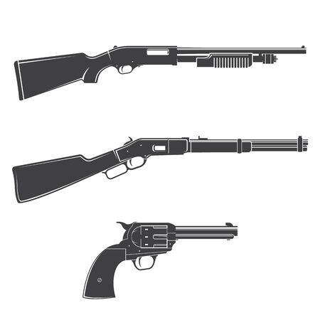 Set of gun and rifles silhouette icon. Vector. Western gun isolated on the white background. Ilustración de vector
