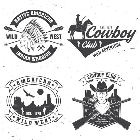 Cowboy club badge. Ranch rodeo. Vector. Concept for shirt,  print, stamp, tee with cowboy and shotgun. Vintage typography design with wild west and western rifle silhouette.