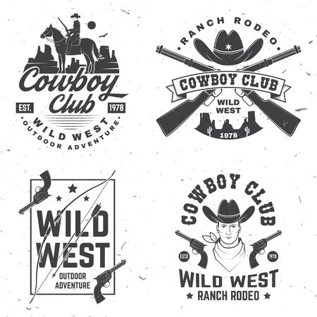 Cowboy club badge. Ranch rodeo. Vector. Concept for shirt,   print, stamp, tee with cowboy and shotgun. Vintage typography design with wild west and western rifle silhouette. Illustration