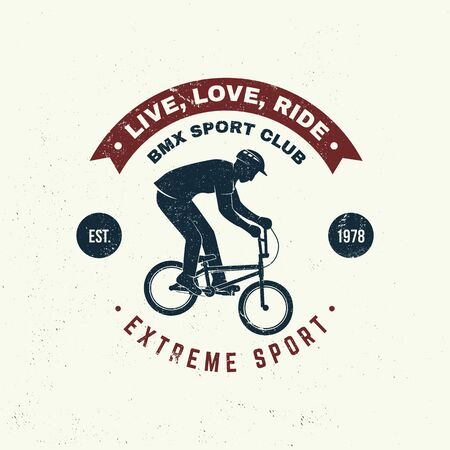 Bmx extreme sport club badge. Vector. Concept for shirt, print, stamp, tee with man ride on a sport bicycle. Vintage typography design with bmx cyclist silhouette.