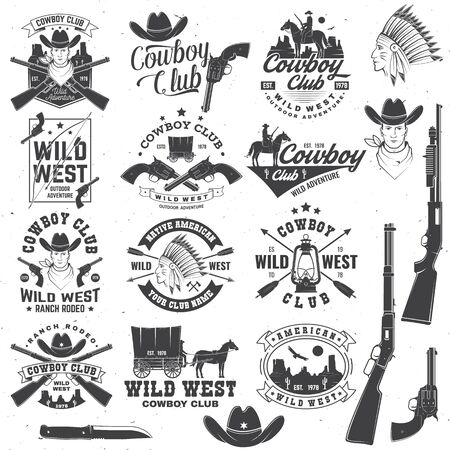 Cowboy club badge. Ranch rodeo. Vector. Concept for shirt, print, stamp, tee with cowboy and shotgun. Vintage typography design with wild west and western rifle silhouette. Ilustración de vector