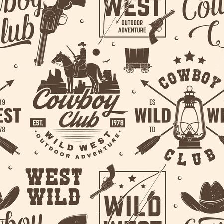 Cowboy club seamless pattern, background. Vector. Seamless pattern design with wild west cowboy, canyon and western rifle silhouette. Cowboy club texture