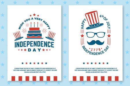 Set of Vintage 4th of july poster, flyer, template, card, fourth of July felicitation classic postcard. Independence day greeting card. Patriotic banner for website template. Vector illustration.