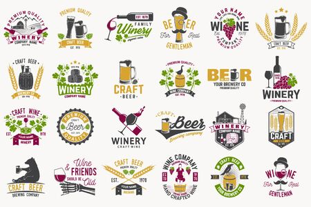 Set of Craft Beer and wine company badges with hops, raven and bear. Vector. Vintage design for winery company, bar, pub and restaurant business. Coaster for beer or wine glasses. Vectores