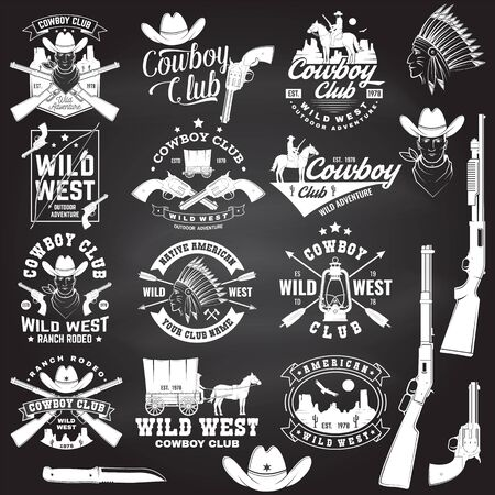 Set of cowboy club badge on chalkboard. Vector. Concept for shirt, print, stamp, tee with cowboy and shotgun. Vintage typography design with wild west and western rifle silhouette.