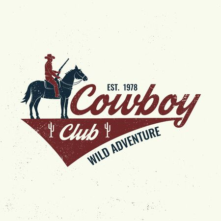 Cowboy club badge, t-shirt. Ranch rodeo. Vector. Concept for shirt, print, stamp, tee with cowboy and shotgun. Vintage typography design with wild west and western rifle silhouette.