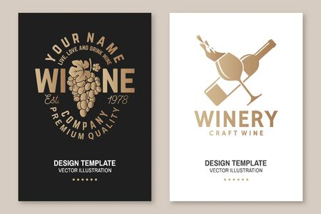 Wine company poster, flyer, template, card. Vector. Vintage design for winery company, bar, pub, shop, branding and restaurant business. Coaster for wine glasses Vectores