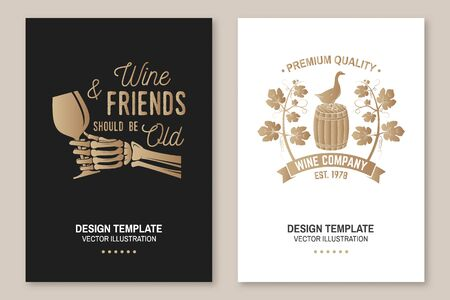 Winery company poster, flyer, template, card. Vector. Vintage design for winery company, bar, pub, shop, branding and restaurant business. Coaster for wine glasses Vectores