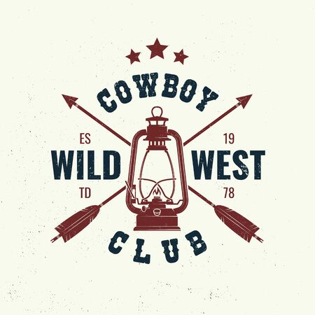 Wild west badge, t-shirt with indian arrow and lantern. Vector. Concept for shirt,   print, stamp, tee. Vintage typography design with arrow and lantern silhouette.