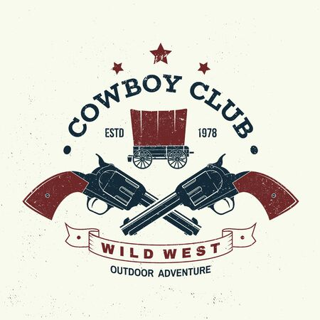 Cowboy club badge, t-shirt. Wild west. Vector. Concept for shirt,  print, stamp, tee with cowboy and covered wagon. Vintage typography design with western wagon silhouette.
