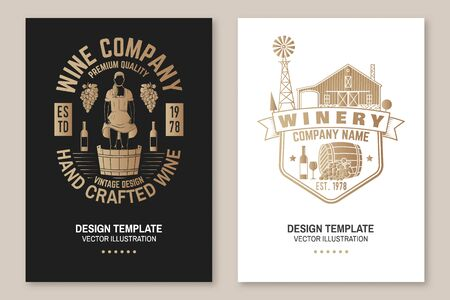 Wine company poster, flyer, template, card. Vector illustration. Vintage design for winery company, bar, pub, shop, branding and restaurant business. Coaster for wine glasses