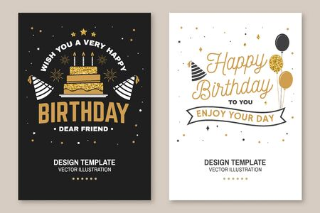 Wish you a very happy Birthday dear friend. Badge, sticker, card, with birthday hat, firework and cake with candles. Vector. Vintage typographic design for birthday celebration emblem in retro style Çizim