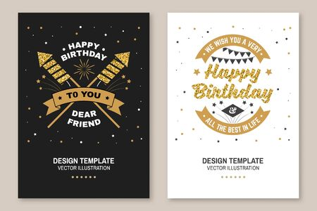 Happy Birthday to you dear friend. Badge, card, with sparkling firework rockets, firework and ribbon. Vector. Vintage typography design for birthday celebration emblem in retro style Çizim