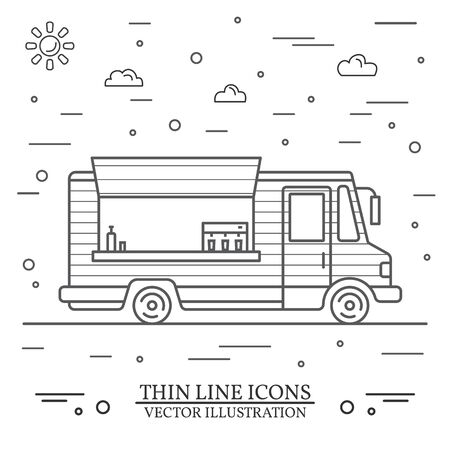 Modern minimalist food car design. Vector. Thin line icon food truck front. For web design and application interface, also useful for infographics.  イラスト・ベクター素材