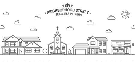 Neighborhood with home, store and church illustrated on white Vector thin line icon suburban american houses. For web design and application interface. Seamless pattern or background for wallpaper
