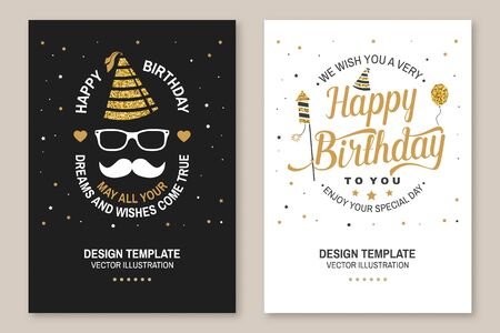 Wish you a very happy Birthday dear friend. Badge, card, with birthday hat, firework, mustache and cake with candles. Vector. Set of vintage typographic design for birthday celebration emblem Çizim