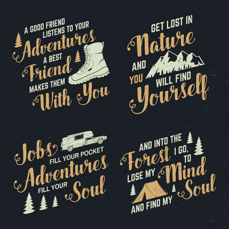 Set of adventures inspirational quote badges, template Vector. Concept for shirt,  print, stamp or tee. Vintage typography design with hiking boot, camping tent, mountain and forest silhouette. Reklamní fotografie - 151097661