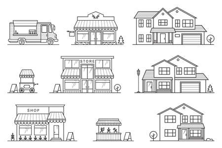 Set of store, shop, house, street store cart and truck icons. Vector. For web design and application interface, also useful for infographics. Modern minimalist design with facade building