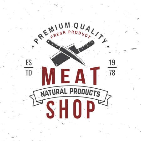 Butcher meat shop Badge or Label with kitchen knife. Vector illustration.