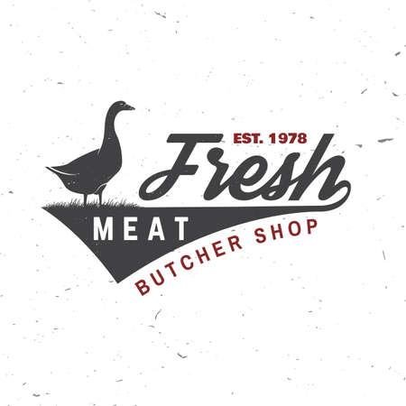 Butcher meat shop with goose Badge or Label. Vector illustration.