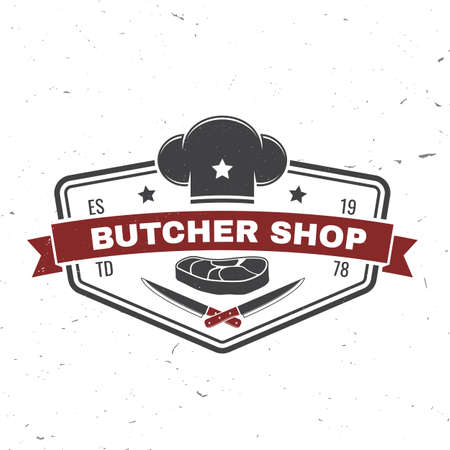 Butcher meat shop Badge or Label with Steak, chef hat, kitchen knife. Vector illustration. Reklamní fotografie - 151345089