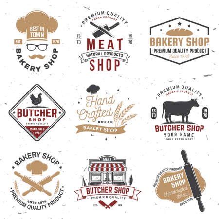 Set of butcher shop and Bakery shop badge, label. Vector.