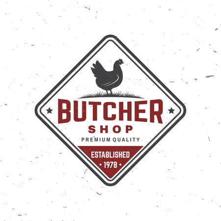 Butcher meat shop with chicken Badge or Label. Vector illustration. Vintage typography logo design with chicken silhouette. Elements on the theme of the chicken meat shop, market, restaurant business. Reklamní fotografie - 151494092